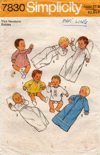 simplicity 7830 baby layette