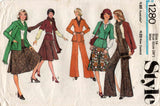 Style 1280 Womens Cardigan Bias Skirt Flared Pants & Scarf 1970s Vintage Sewing Pattern Size 14 Bust 36 inches
