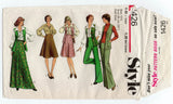 Style 1426 Womens Half Sized Skirt Maxi Vest Blouse & Pants 1970s Vintage Sewing Pattern Size 12 1/2 Bust 35 Inches