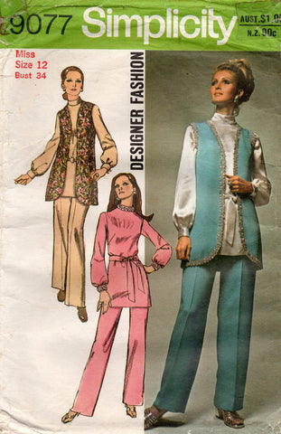 simplicity 9077 70s designer patterns
