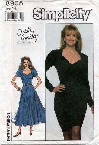 simplicity 8905 christie brinkley 80s dress