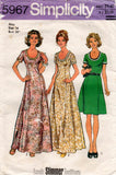 Simplicity 5967 Womens Princess Seamed Dress or Maxi 1970s Vintage Sewing Pattern Size 12 or 16