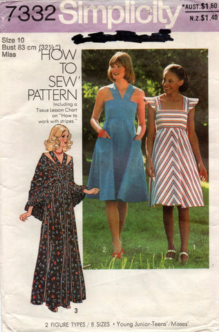 simplicity 7332 70s sundress and shawl