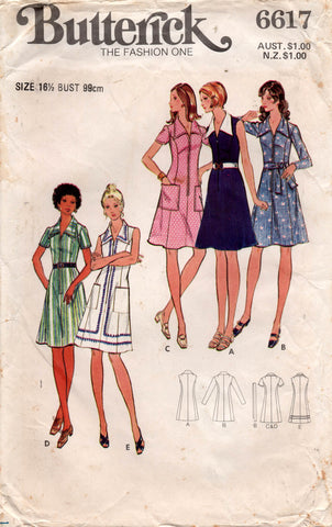 Butterick 6617 Womens Half Size Zip Front Shirtdress 1970s Vintage Sewing Pattern Size 16 1/2 Bust 39 Inches UNCUT Factory Folded