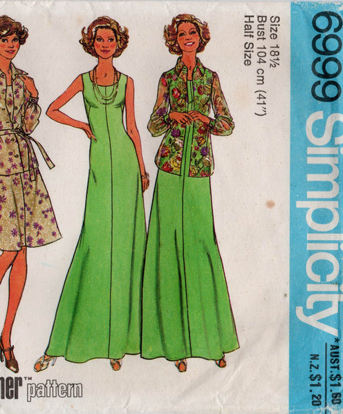 simplicity 6999 70s dress jumper blouse