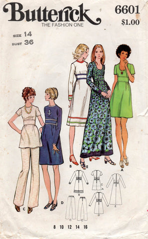 butterick 6601 70s dress tunic and pants