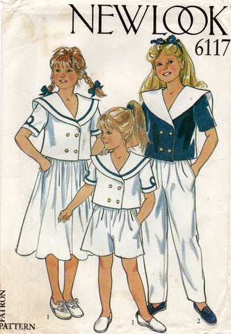 new look 6117 80s girls sailor suit