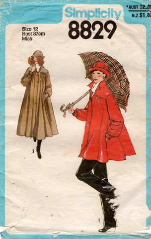 simplicity 8829 raincoat and hat 70s