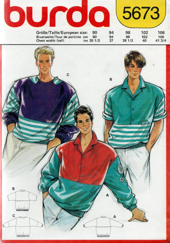 burda 5673 mens 80s shirts