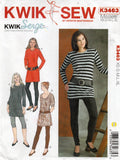 Kwik Sew K3463 Womens Stretch Pullover Tops & Leggings Out Of Print Sewing Pattern Size XS - XL UNCUT Factory Folded