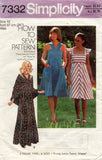 Simplicity 7332 Womens High Waisted Sundress Maxi & Shawl 1970s Vintage Sewing Pattern Size 10 12 or 14