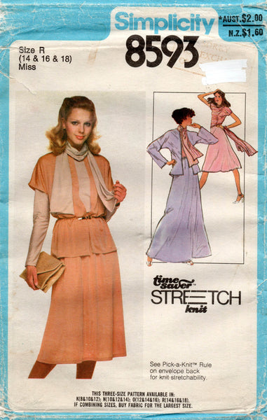 simplicity 8593 70s stretch separates