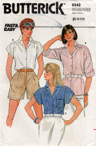 butterick 6542 80s blouse
