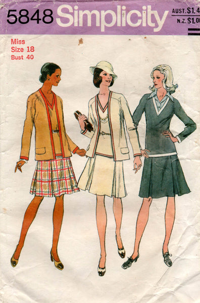 simplicity 5848 70s jacket and 2 piece dress