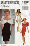 Butterick 5792 RIMINI Womens Off The Shoulder Cocktail Gown 1990s Vintage Sewing Pattern Size 6 - 10 or 12 - 16 UNCUT Factory Folds