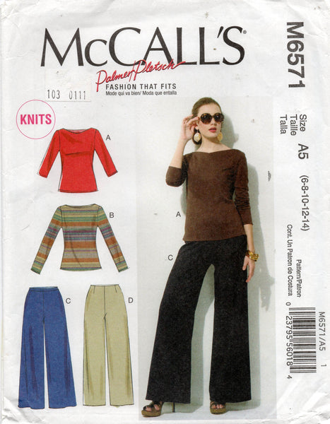 McCall's M6571 stretch tops and pants oop
