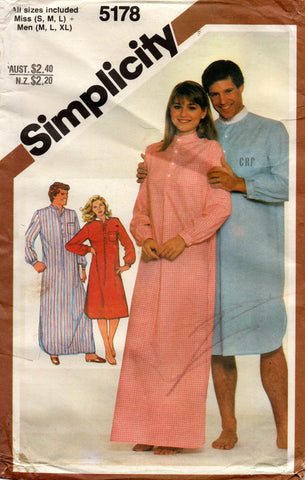 simplicity 5178 80s sleep shirt unisex