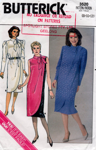 butterick 3520 80s dress