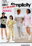 simplicity 7935 90s tracksuit and shorts