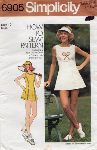 simplicity 6905 70s tennis outfit