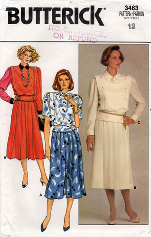 butterick 3463 80s top and skirt
