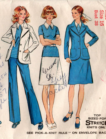 simplicity 5527 70s skirt pants top jacket