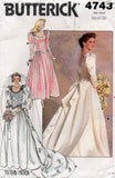 butterick 4743 80s wedding dress