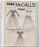 McCall's 7452 Womens Alicyn Wedding & Bridesmaids Dress 1990s Vintage Sewing Pattern Size 8 - 12 UNCUT Factory Folded