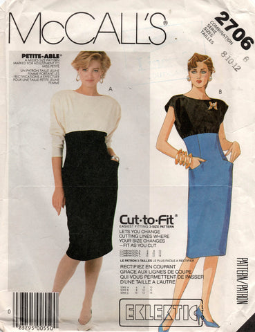 McCall's 2706 color block dress 80s