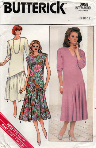 butterick 3958 80s dress