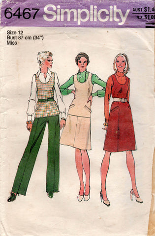 simplicity 6467 70s dress top pants skirt