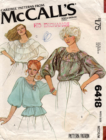 McCall's 6418 70s blouse