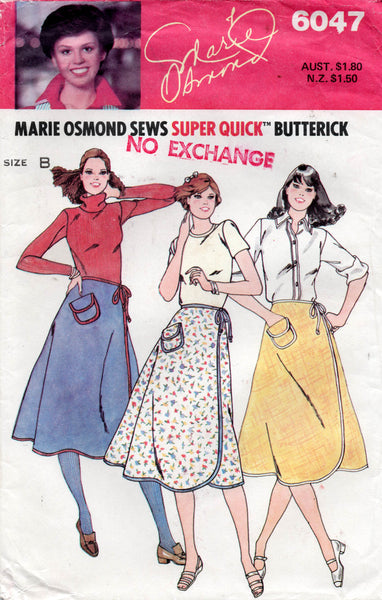 butterick 6047 80s wrap skirt