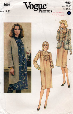vogue 8098 80s dress and jacket