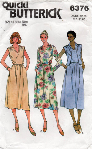 butterick 6376 80s dress and vest