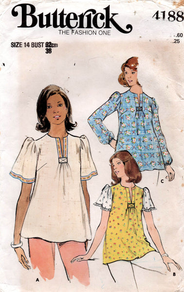 butterick 4188 70s maternity tops