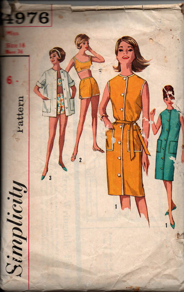 Simplicity 4976 MOD Dress Shirt Bra Top & Shorts Vintage Sewing Pattern Size 16 Bust 36 Inches