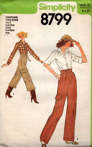simplicity 8799 70s pants and shirts