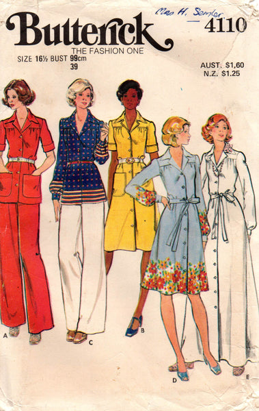 butterick 4110 70s half size dress top pants
