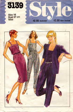 Style 3139 dress jumpsuit and jacket 80s