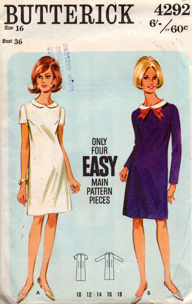 butterick 4292 60s shift dress