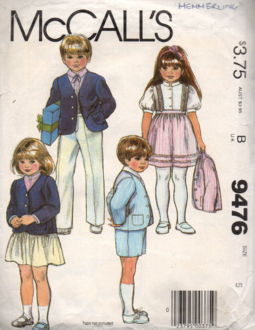 McCall's 9476 boys girls 80s separates