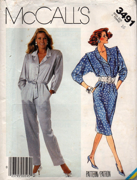 McCall's 3491 80s jumpsuit and shirtdress
