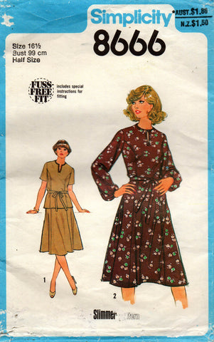 85508249680 Simplicity 8666 70s top skirt dress half size