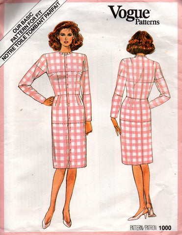 8cf1bb463d5 Vogue 1000 Womens Basic Fitting Toile Dress 80s Vintage Sewing Pattern Size  14 Bust 36 inches UNCUT Factory Folds