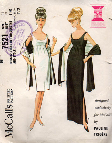 McCall's 7521 Pauline Trigere 60s evening dress