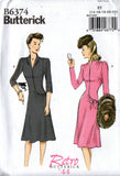 Butterick B6374 Womens Repro 40s Asymmetric Draped Dress Sewing Pattern Size 6 - 14 or 14 - 22 UNCUT Factory Folded