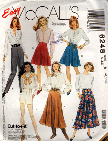 McCall's 6248 high waisted skirts pants shorts culottes 90s