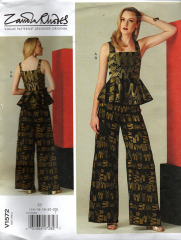 Vogue 1572 peplum top and pants zandra rhodes