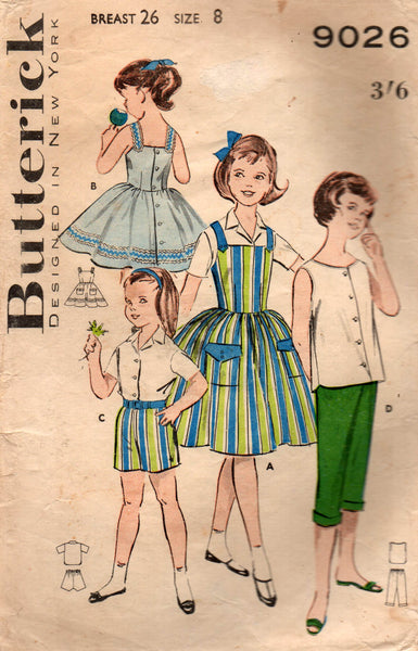 butterick 9026 girls summer separates 60s